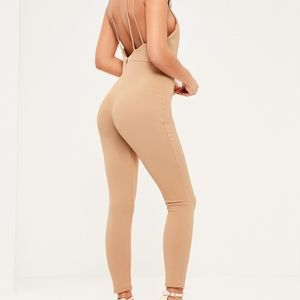 Missguided Brown Harness Plunge Neckline Jumpsuit